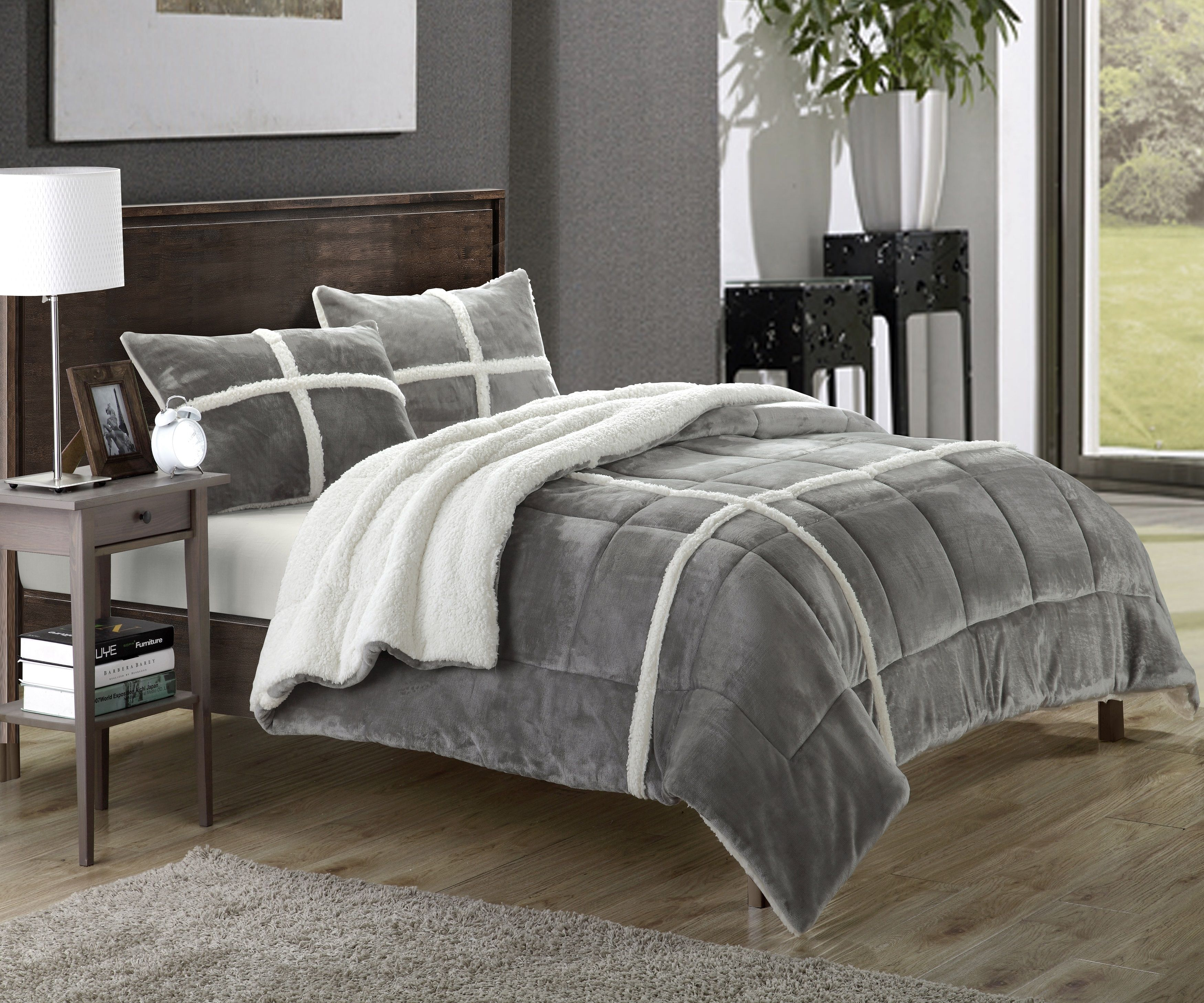 Chic Home Chloe 15-Piece Sherpa Lined Plush Microsuede Comforter ...