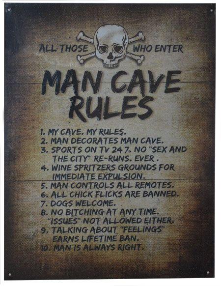man cave rules metal sign quotes man cave basement man cave rh pinterest com