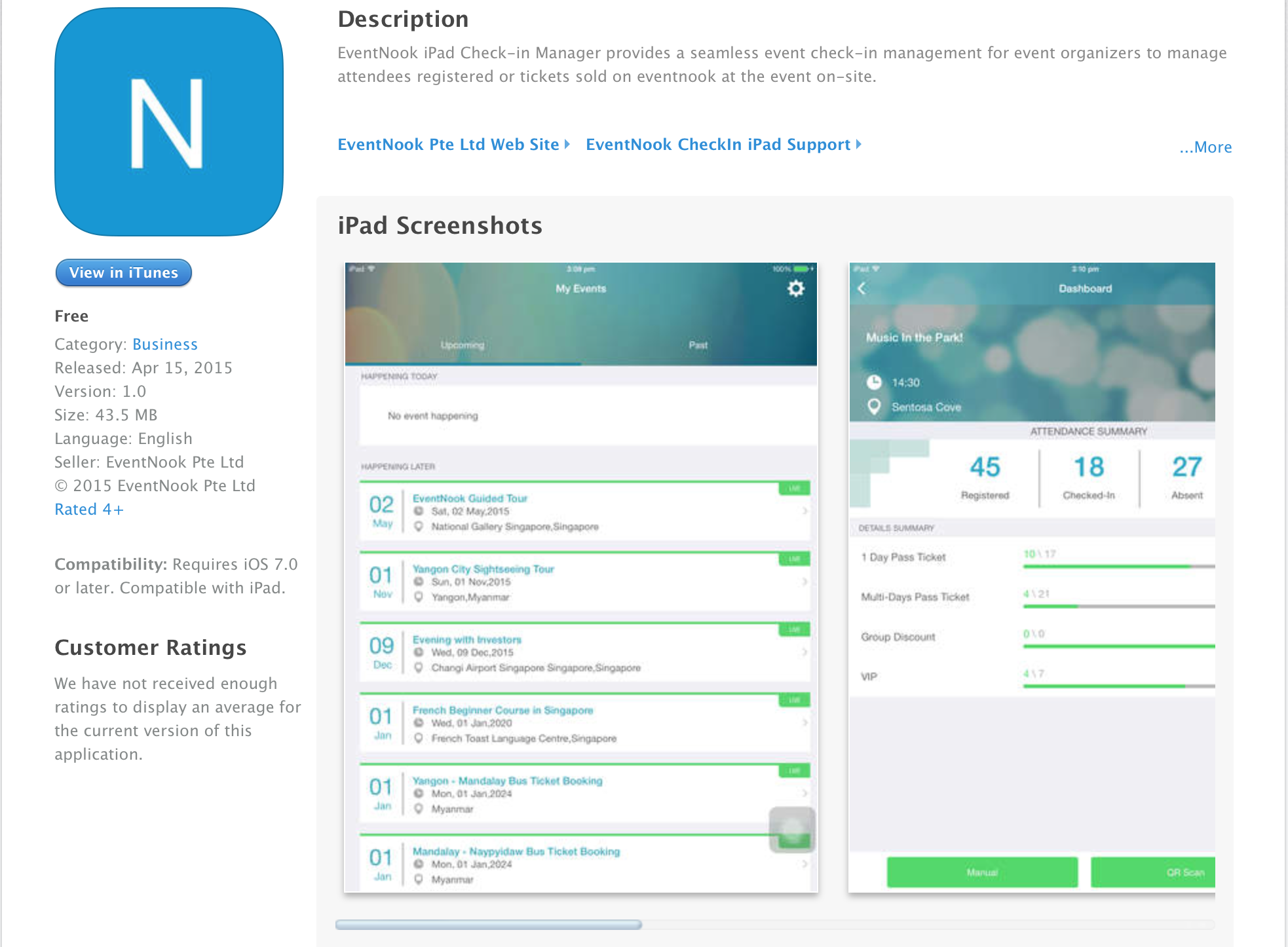 EventNook Check-in Application for iPad/iPhone