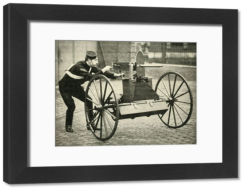 22x18 inch (580x480 mm) frame with high quality RA4 print and mount individually cut to size (other products available) - 'Types of Arms - Lord Dundonald's Galloping Gun-Carriage with Maxim', 1900. Douglas Cochrane, 12th Earl of Dundonald served in the Second Boer War and in November 1899 he was appointed Commander of the Mounted Brigade, part of the South Natal Field Force. From