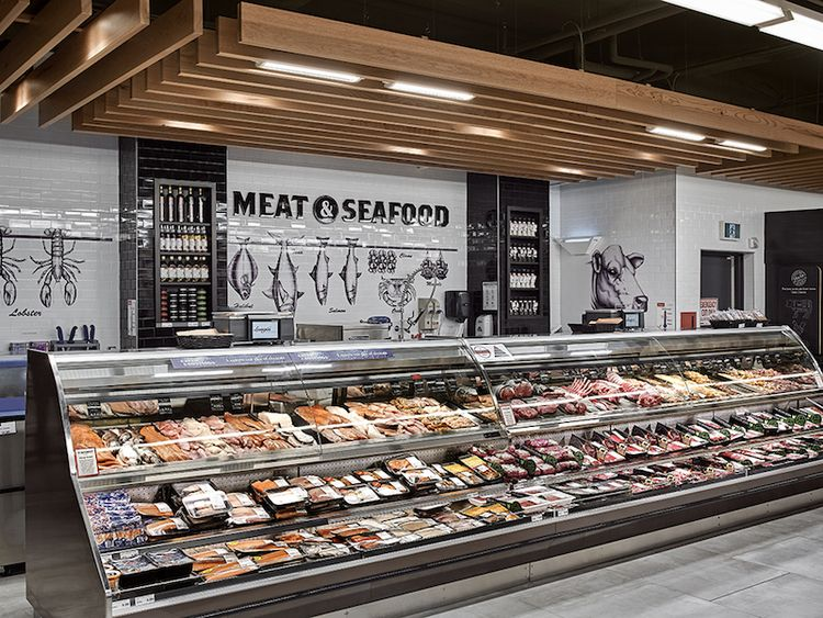Inside longo 39 s impressive new imperial plaza location photos butcher shop walls and ceilings - Small retail space design decoration ...