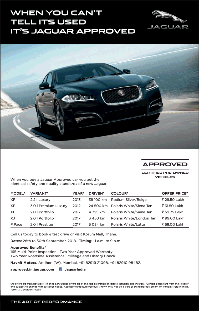 Jaguar Approved Certified Pre Owned Vehicles Ad Times Of India Mumbai Check Out More Car Advertisement Collection A Jaguar Certified Pre Owned Car Advertising