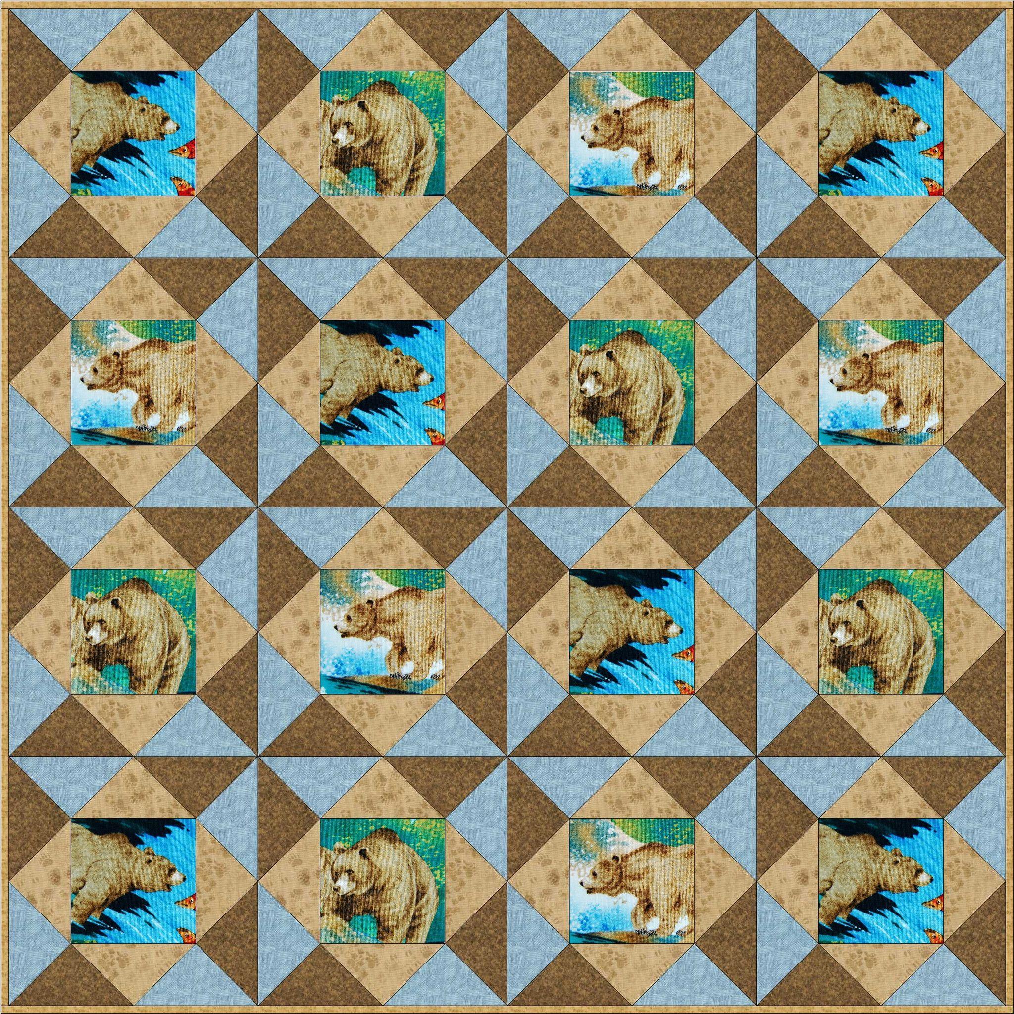 Brown Bear Paws Pre-Cut Quilt Blocks Kit from Quilt Kit Shop | Our ... : pre cut quilt kits for beginners - Adamdwight.com