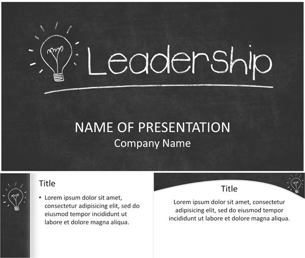 PowerPoint template with a light bulb drawn on a black chalkboard