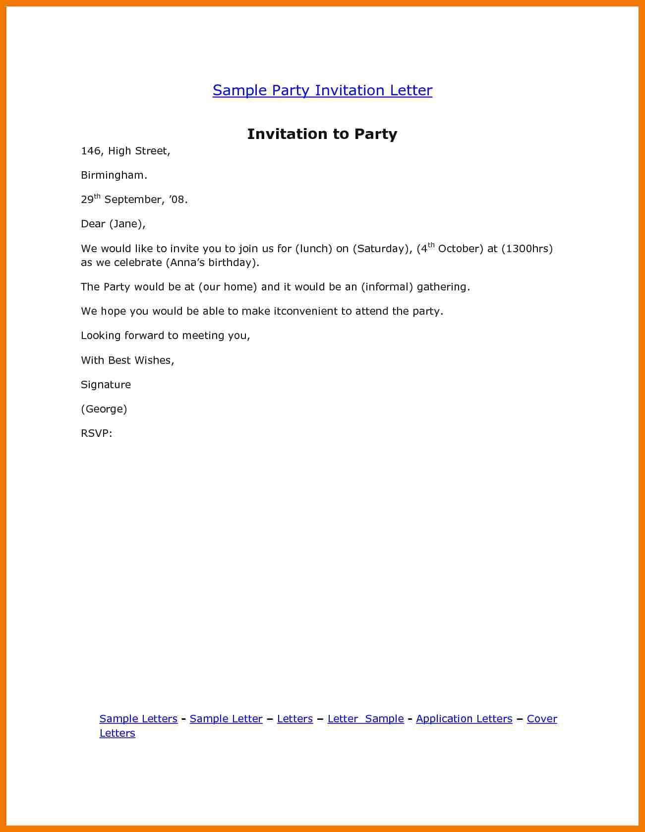 birthday invitation letter template