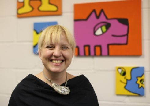 Maria Slovakovas (pictured) colourful artwork is on display at Studio 3 Arts' gallery in Boundary Road, Barking UK