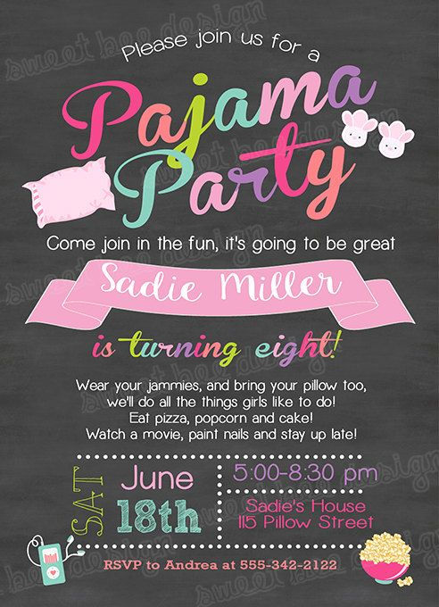 pajamas birthday invitation slumber party by sweetbeedesignshoppe