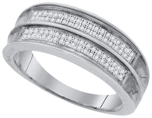 Men's 925 Sterling Silver 0.22 Ctw Diamond Micro Pave Band Ring 4.03g: Ring