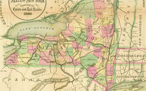 Underground Railroad New York Map.State Of New York With Canals And Rail Roads 1868 Vermont Railway