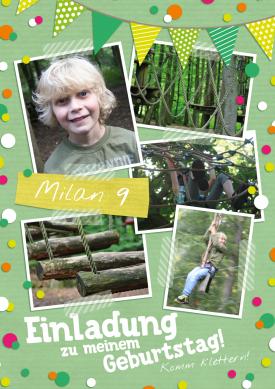 Tolle Einladungskarte Mit Eigenen Fotos Zum 9. Geburtstag Zum Klettern Im  Hochseilgarten