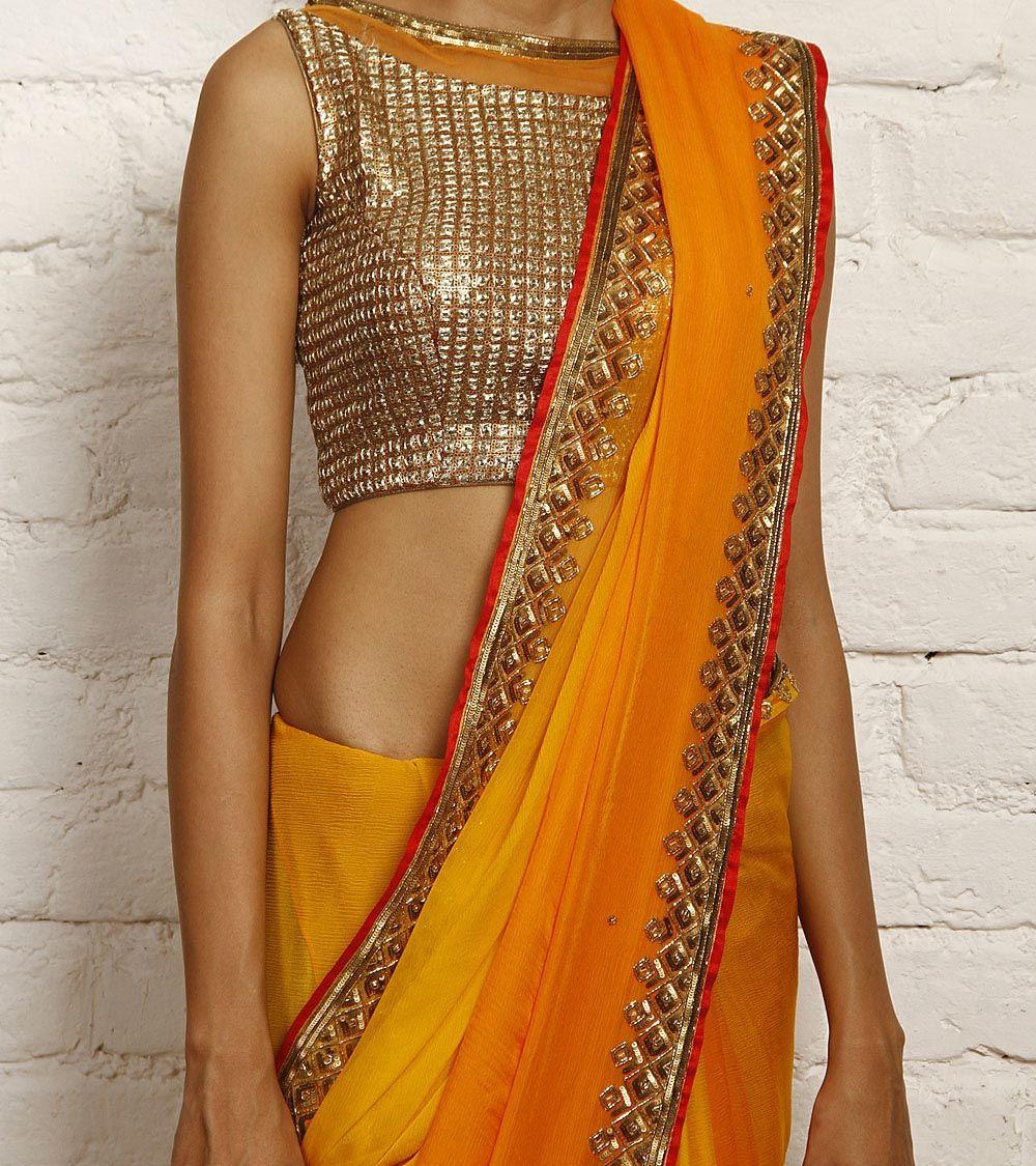 38be0c121500a3 Orange Ombre Chiffon Saree, by Nidhika Shekhar   All things Indian ...