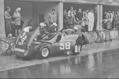 Revs Digital Library: Monza 1000 km 1966 No 58 - Sergio Morando/Gianni Varese Abarth 1300OT, finished 16th - pit stop in rain