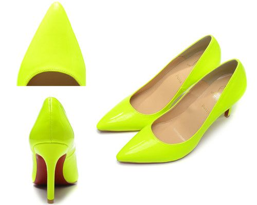 Christian Louboutin Pigalle 80mm Red Sole Yellow Green Patent Leather 01e18442aa
