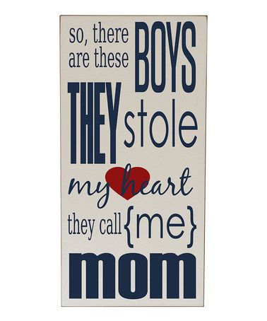 Another great find on #zulily! Cream & Navy 'Boys Stole My Heart' Wall Sign #zulilyfinds