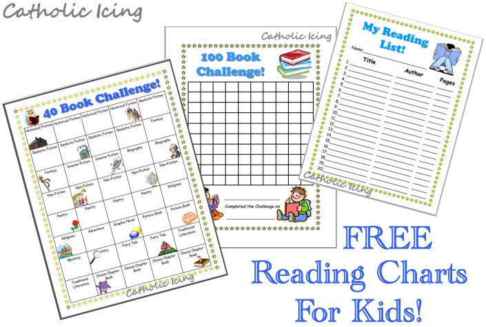 Printable Reading Charts For Kids 20 Book Challenge 40 Book Challenge And 100 Book Challenge Catholic Icing 40 Book Challenge Reading Charts 100 Book Challenge