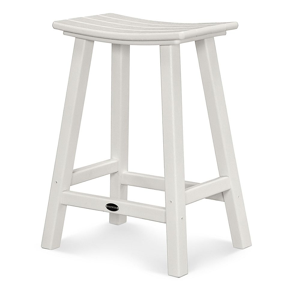 Polywood South Beach 24 Inch Saddle Bar Stool In White Saddle