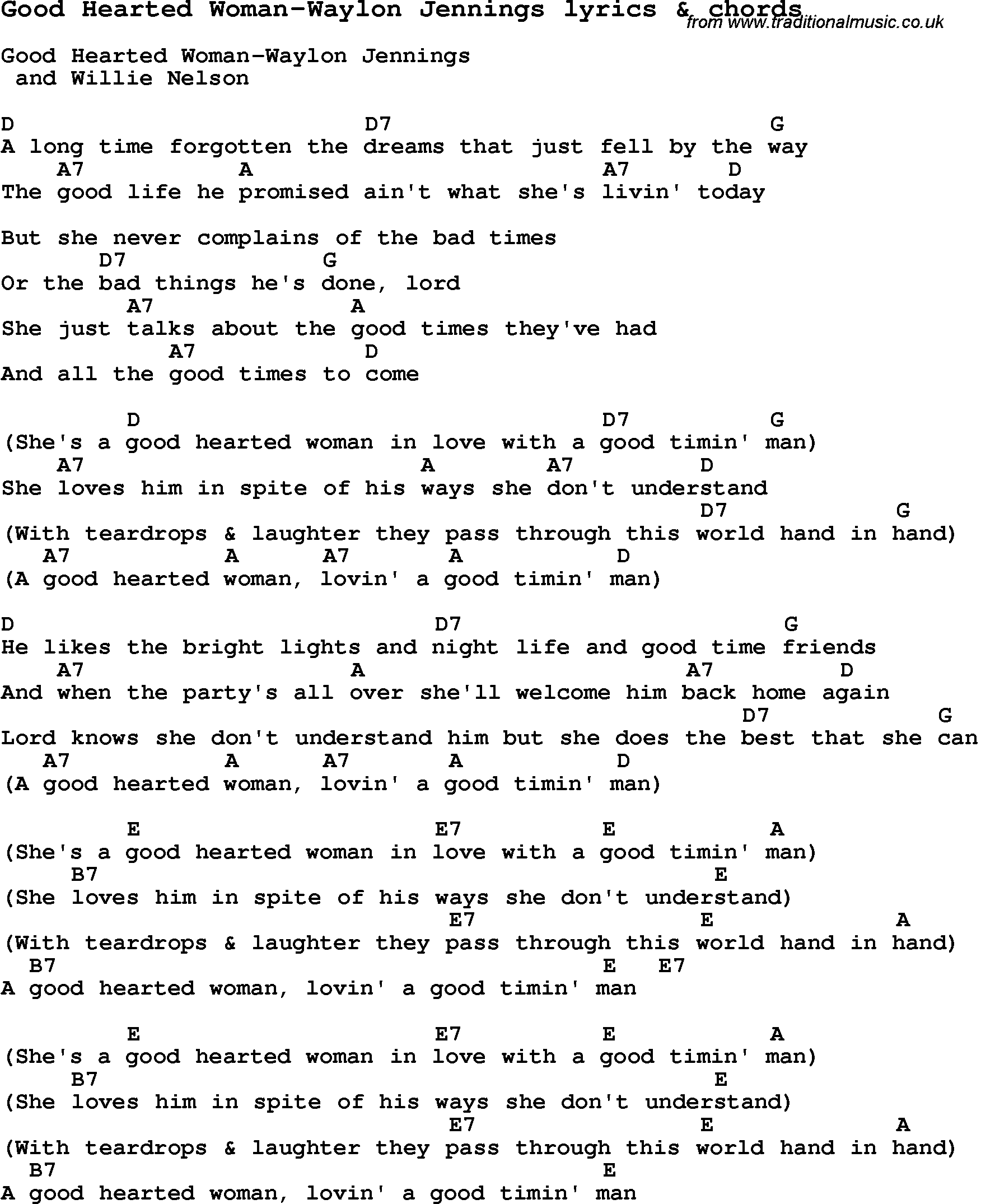 Love Song Lyrics For Good Hearted Woman Waylon Jennings With Chords Guitar Chords For Songs Lyrics And Chords Guitar Songs