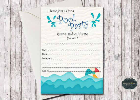 blank pool party invitation fill in by sugarspiceinvitation