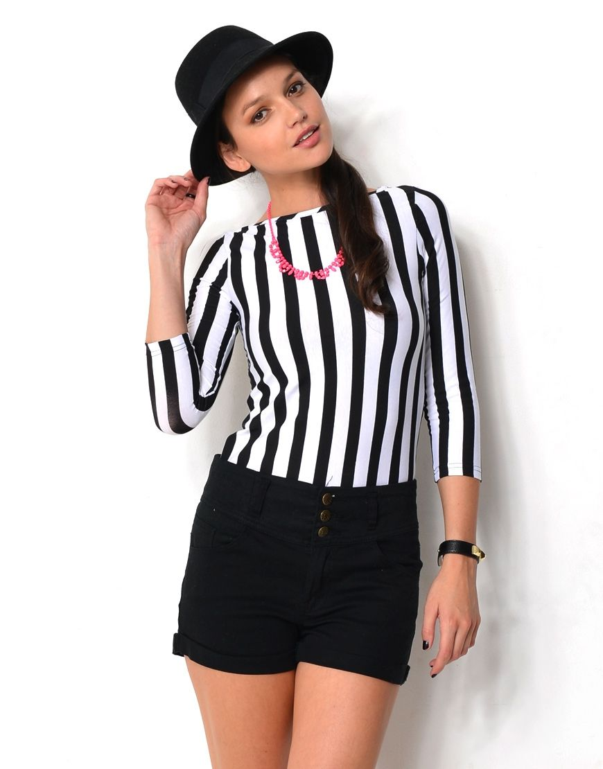 15197LYPRS - 19X21* Striped 3/4 Sleeve Top