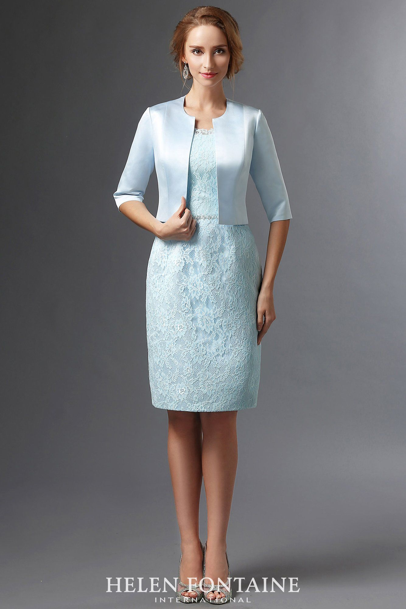 Helen Fontaine Short Sheath Mother of the Bride Dress with Jacket ...