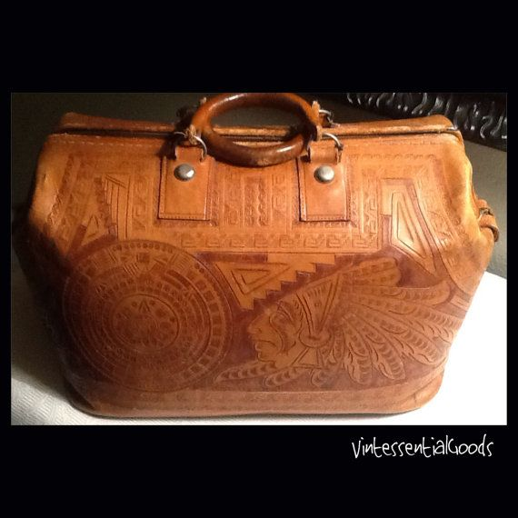 Vintage Carved Tooled Mexican Leather Bag Luggage