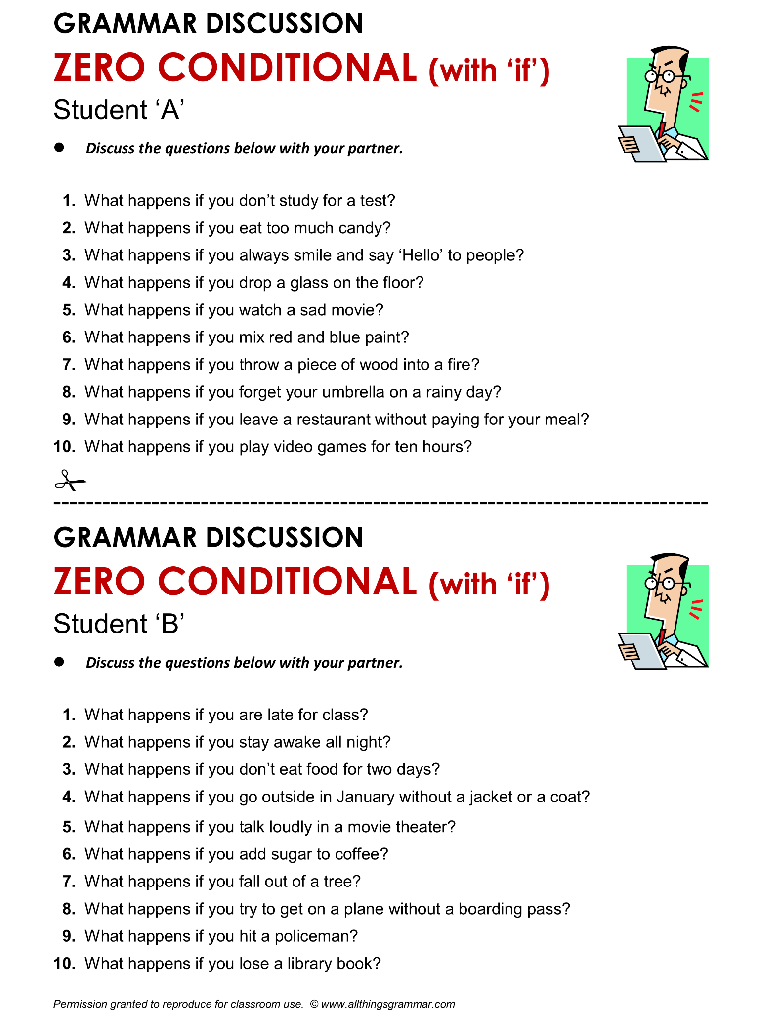 English Grammar Discussion Zero Conditional With If