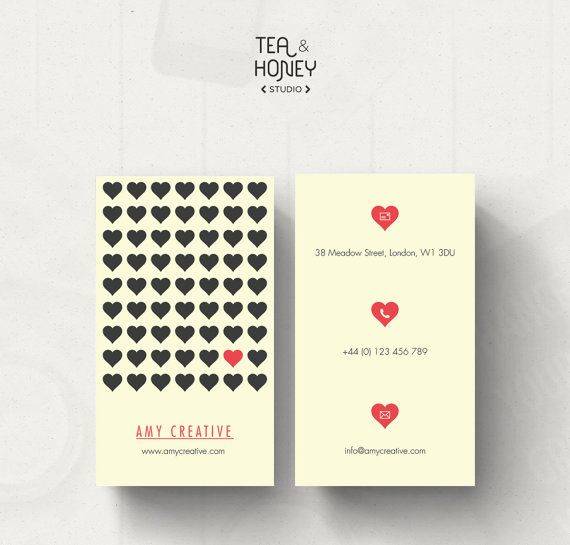 Business card design heart pattern business card template love simple calling card heart pattern business by teaandhoneystudio accmission Image collections