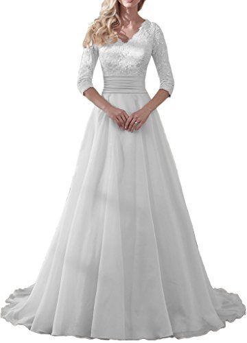 MILANO BRIDE Modest Wedding Dress For Bride V-neck Sleeve... https ...