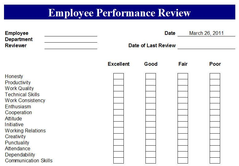 Employee Performance Report Template Work Pinterest Evaluation