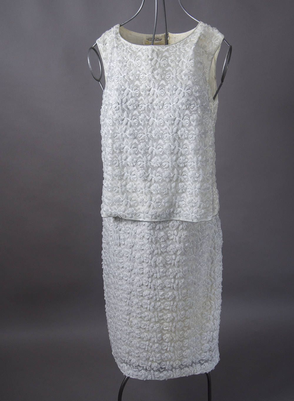 Vintage s beaded two piece dress retro s white beaded two
