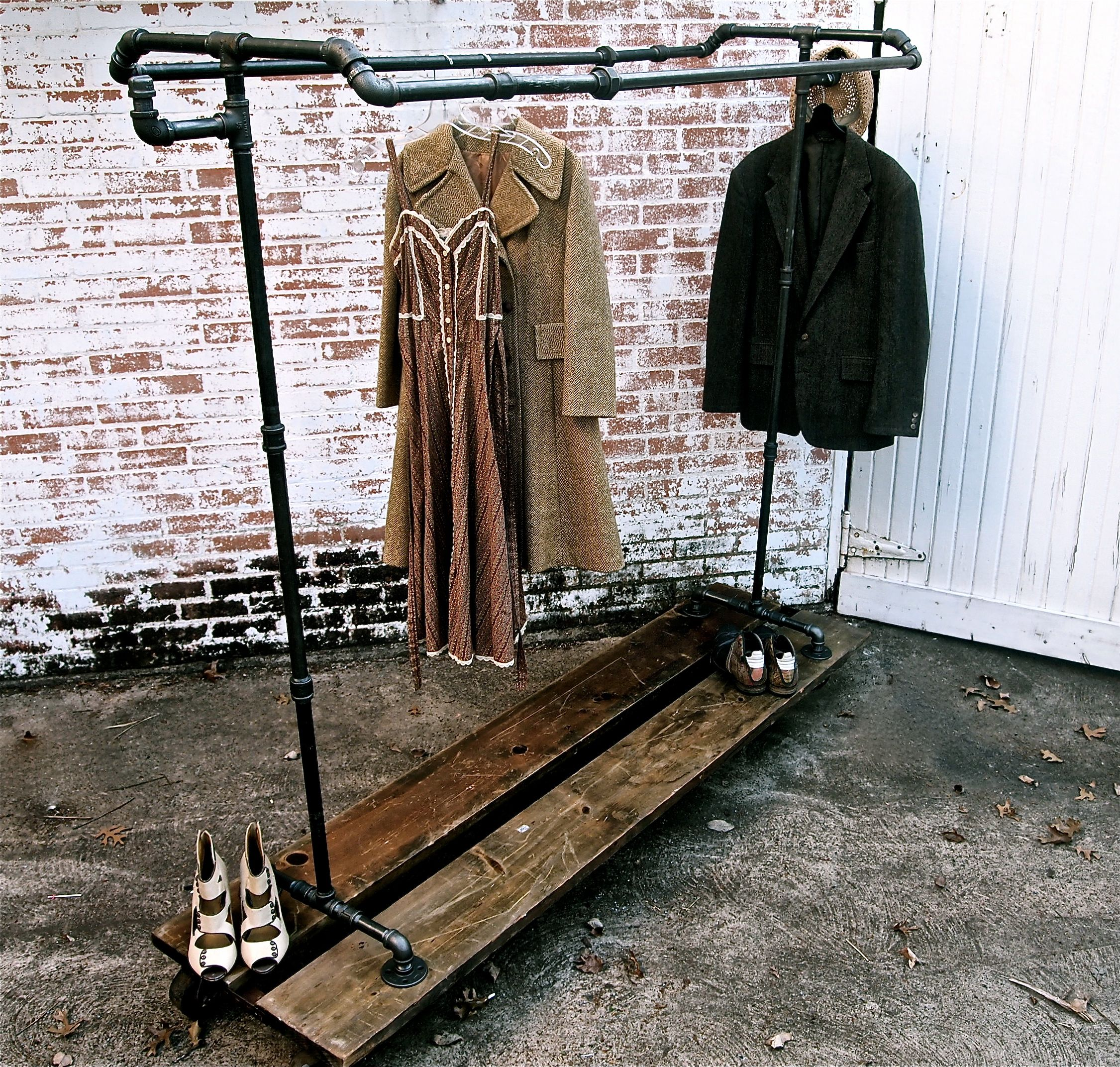 pipe and wood clothing rolling rack storage