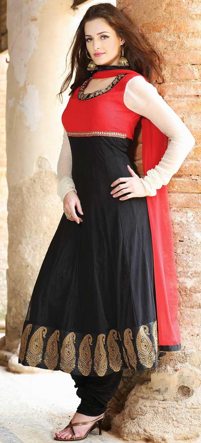 b9ce1f0457 Black n red cotton, net ready made salwar kameez   Glitz n Glitter ...