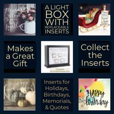 A lovely Light Box with Inspirational interchangeable Inserts for special occasions memorials graduations and inspirational quotes. A unique gift idea. Accessories