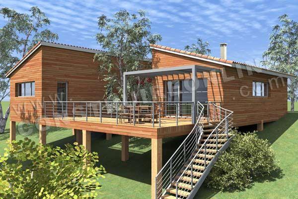 Plan de maison contemporaine bois pilotis PODIHOME vue terrasse