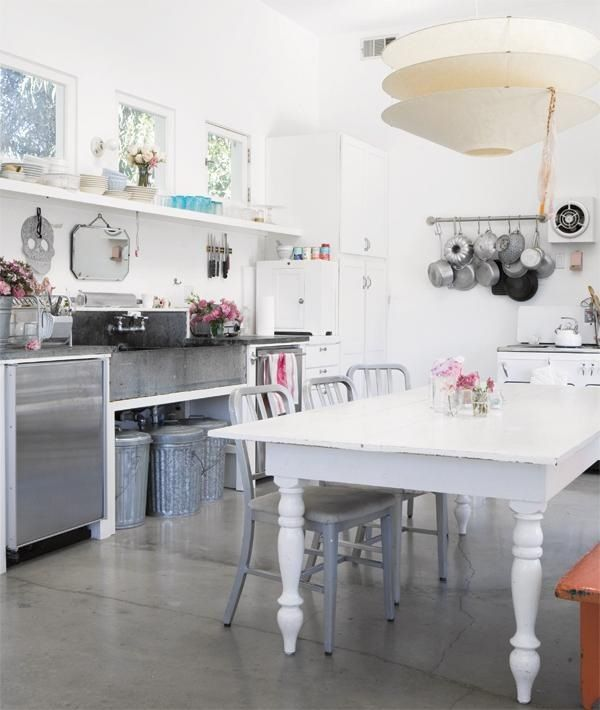 love thick chunky farm table in a kitchen shabby chic kitchen industrial style kitchen on boho chic kitchen table id=12907