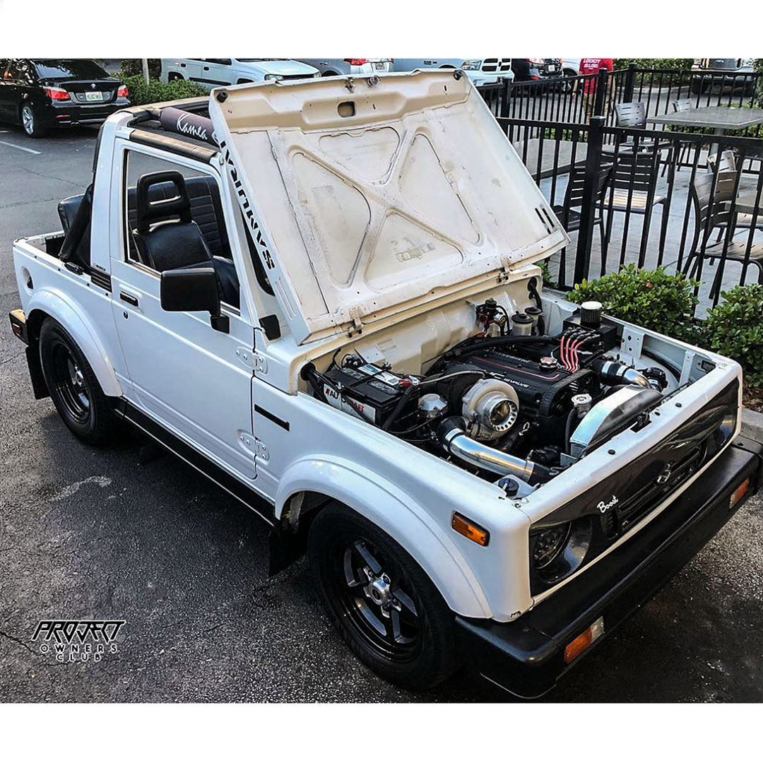 Suzuki Samurai powered by an Evo's 4G63 with slick tires