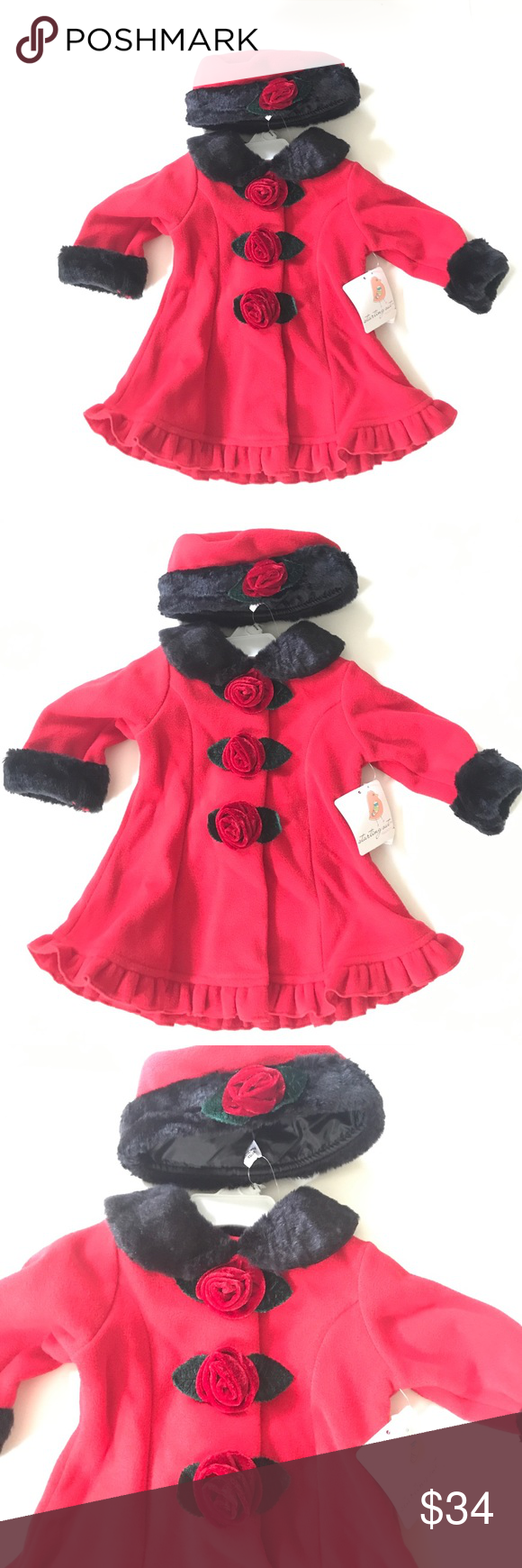 a19b150fc420 Baby Girl Red Fleece Winter Coat Hat Set Beautiful red coat set for ...