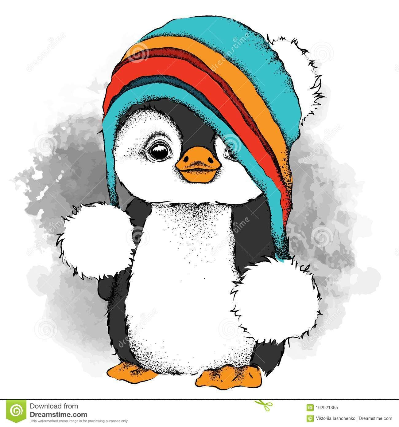Illustration about A cartoon penguin in a hat. Character for Christmas and New Year`s design ...