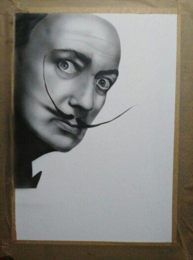 Airbrush Dali portrait in progress...