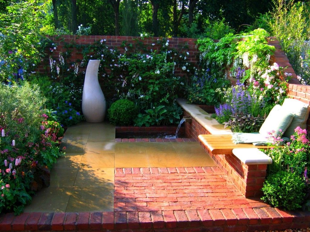 contemporary courtyard with brick floor heaven is a garden