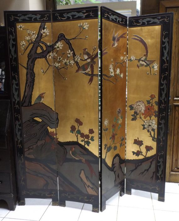Antique Oriental double sided 4 panel folding by EarlyGarageSale