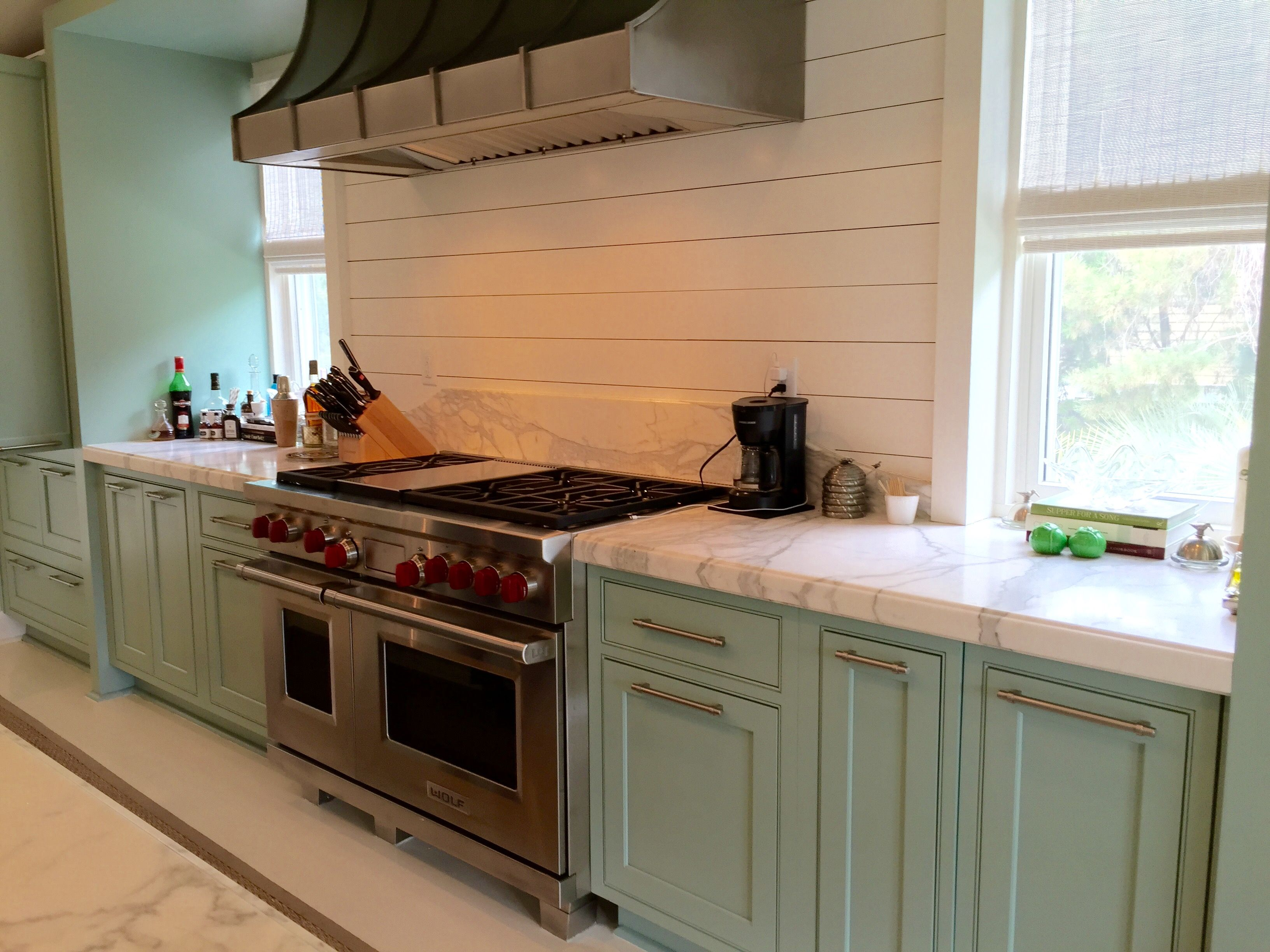 Robin S Egg Blue Cabinets Has Stove And Shiplap