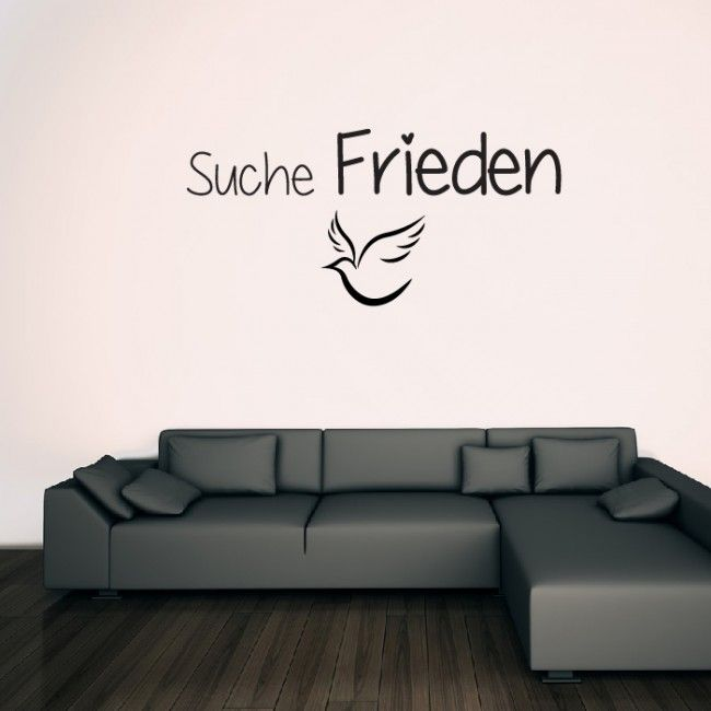 Suche Frieden Wansticker Wandtattoo Ziat Kunst German Quote Wall