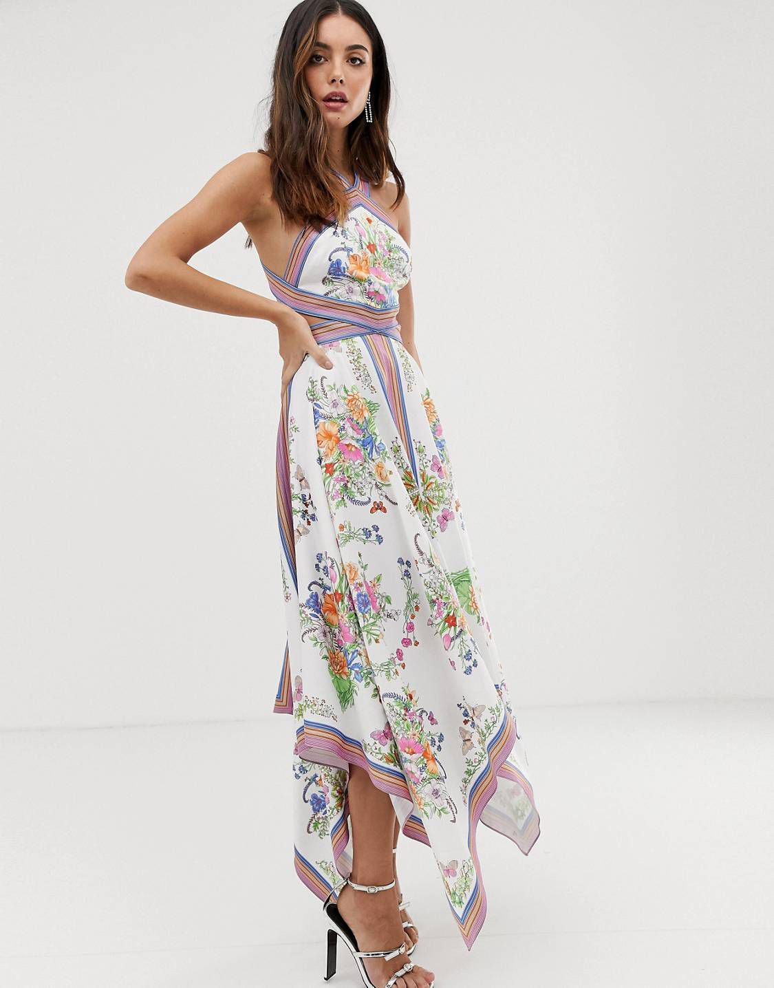 fc7de3a75b27 EDITION scarf print halter midi dress with cutout sides in 2019 | Fashion -  Unique & Beautiful Finds | Asos, Dresses, Date dresses