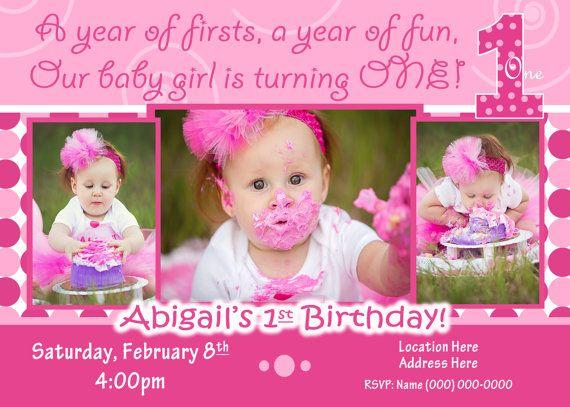 Everything One birthday party 1st Birthday Girl invitation 1st - invitation for 1st birthday party girl