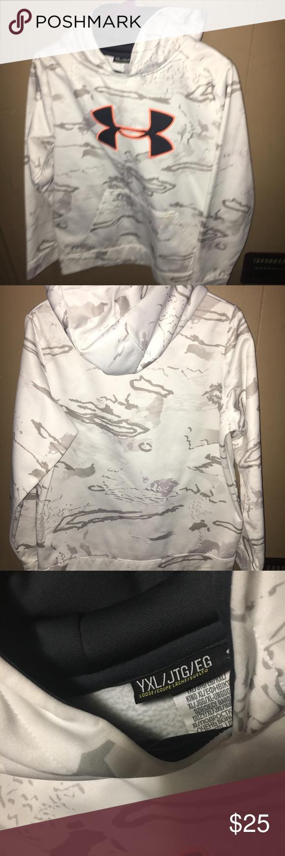 0eee85abb32d Boys UA Hoodie Like New White   gray Under Armour Shirts   Tops Sweatshirts    Hoodies