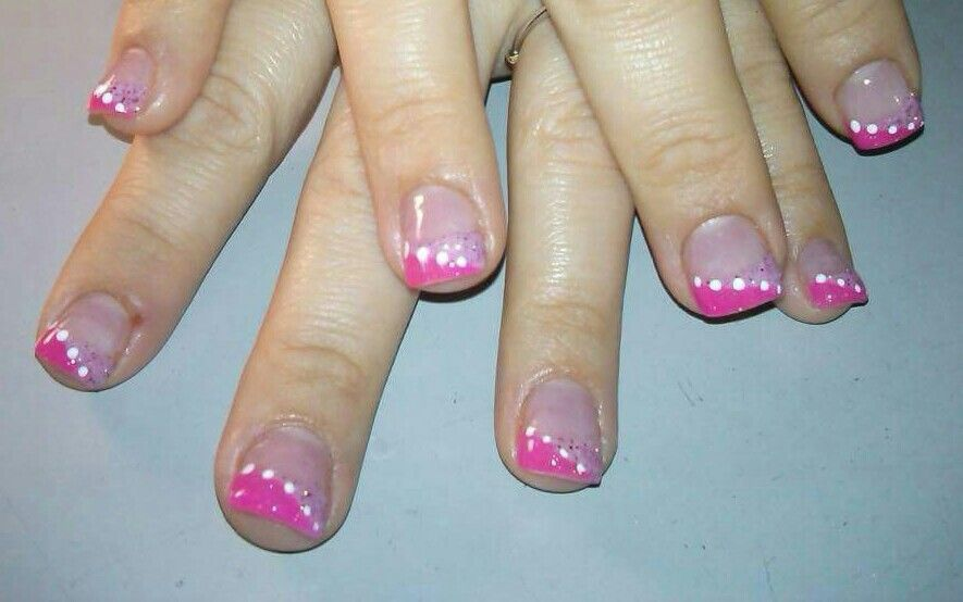 Summer Dotted Nails 2 Color Glitter Acrylic French Tip Nails With