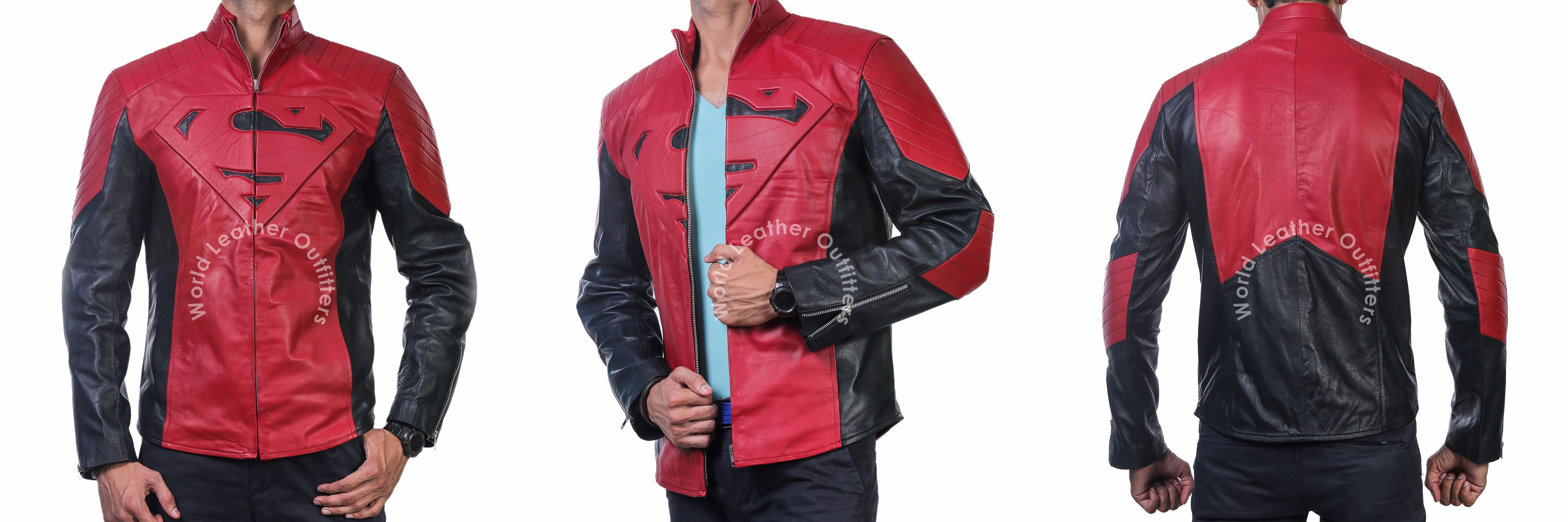 SUPERMAN MAN OF STEEL /& SMALLVILLE BLACK AND RED LEATHER SHIELD JACKET