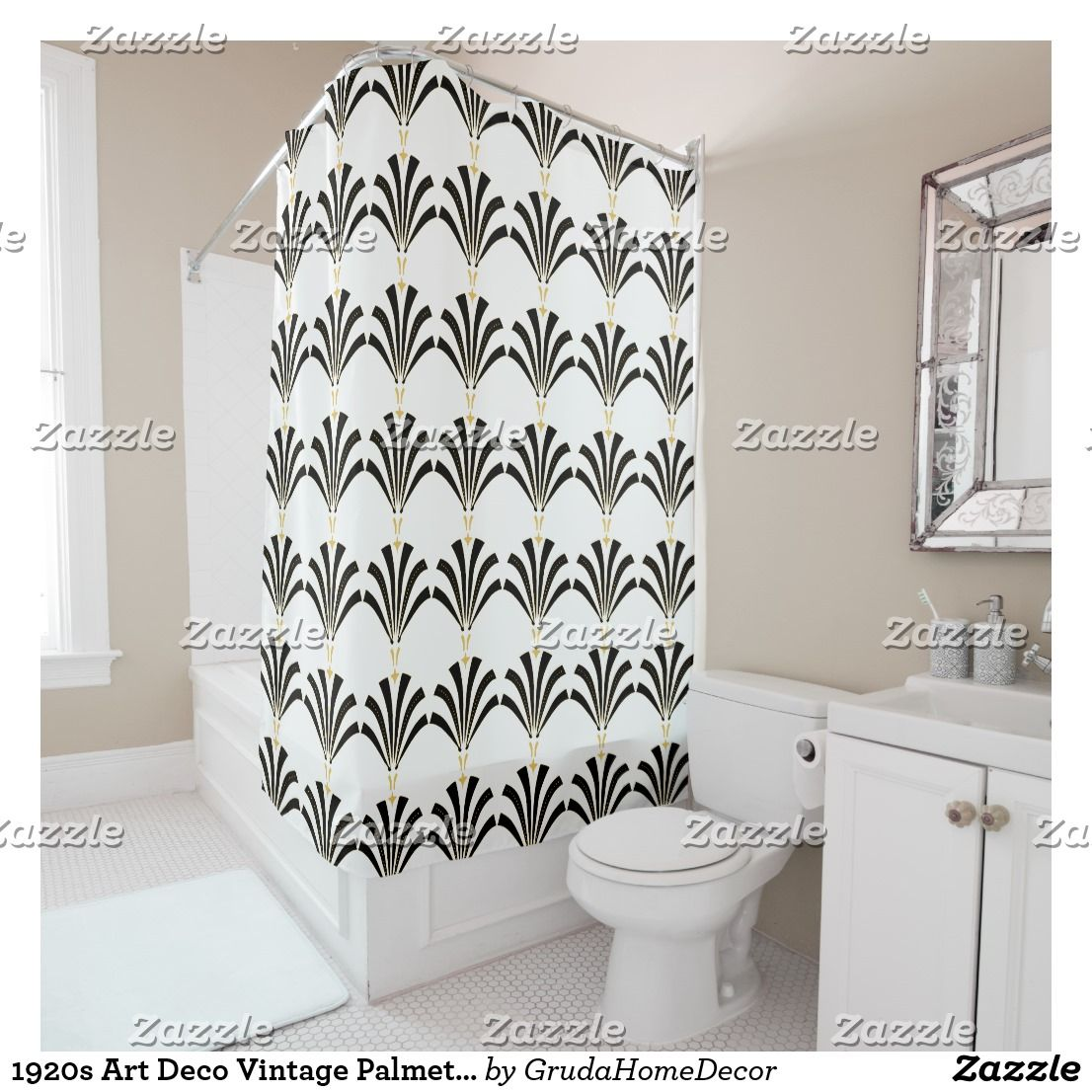 Cafepress Shower Curtain Gold Art Nouveau Deco White Chic El