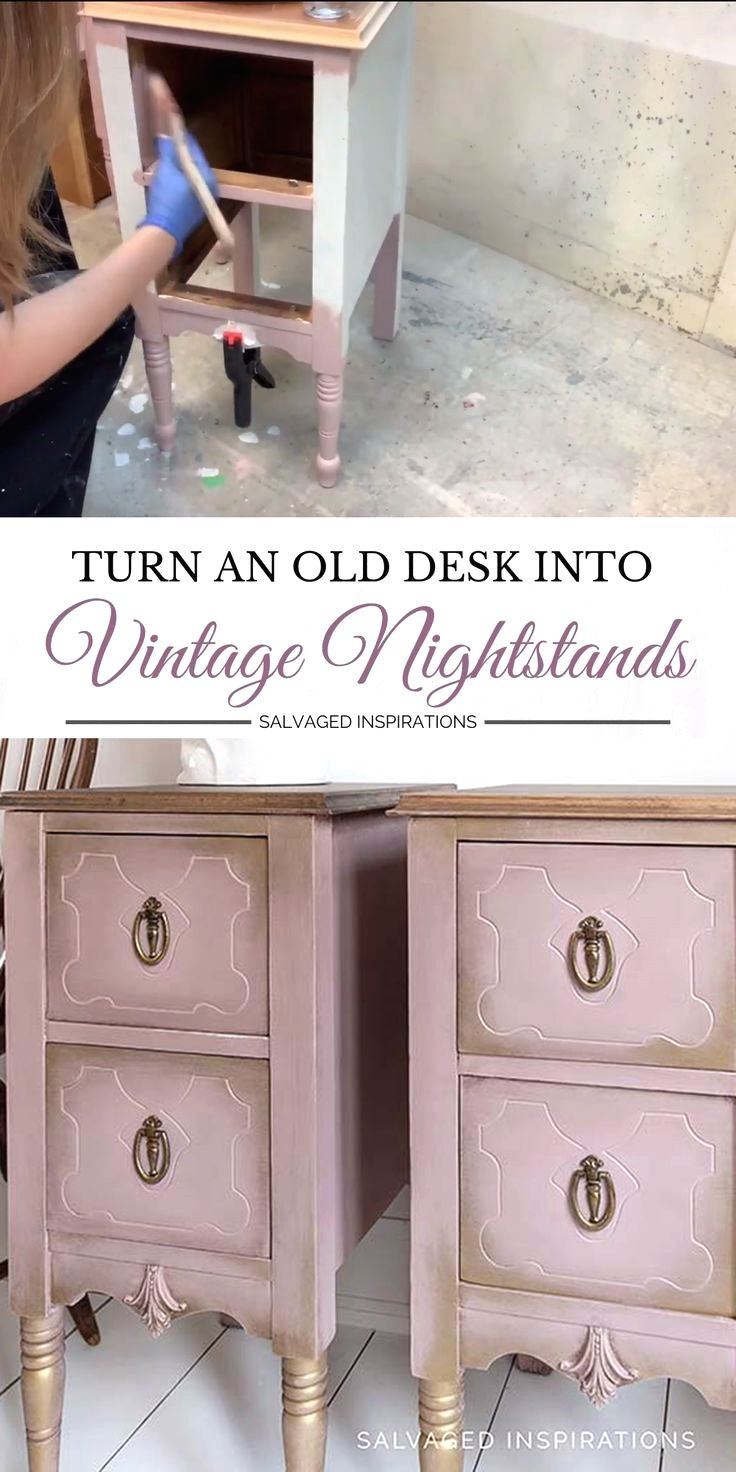 TODAY I'M SHARING HOW TO TURN AN OLD DESK INTO PAINTED NIGHTSTANDS! [FULL HOW-TO-VIDEO ON THE BLOG] #siblog #salvagedinspirations #paintedfurniture #paintednightstands #repurposeddesk